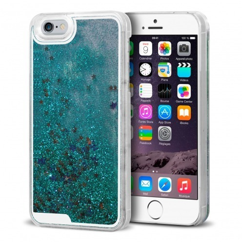 Coque Crystal Glitter Liquid Diamonds Bleu Turquoise iPhone 6