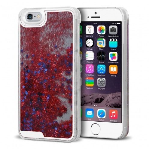 Coque Crystal Glitter Liquid Diamonds Rouge iPhone 6