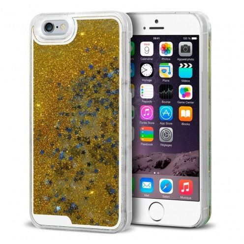 Coque Crystal Glitter Liquid Diamonds Or iPhone 6