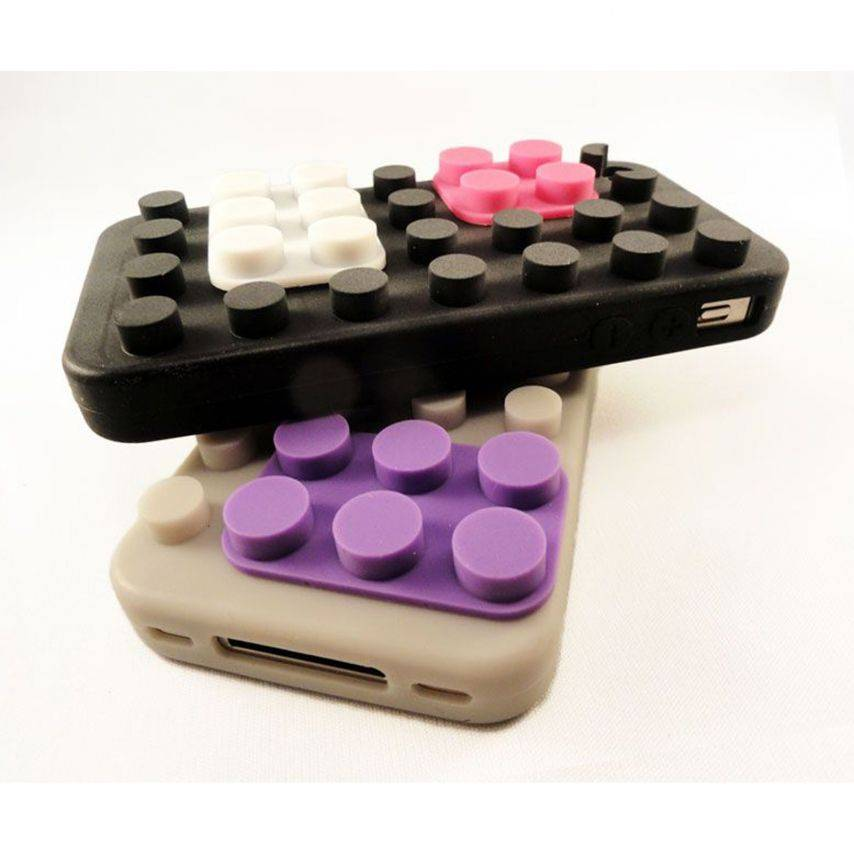 "Visuel unique de Coque Blocs Design ""LEGO"" Noire iPhone 4s / 4"