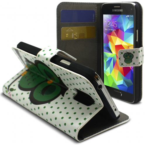 Smart Folio Cover Galaxy S5 Mini à motif Chouette Dormante