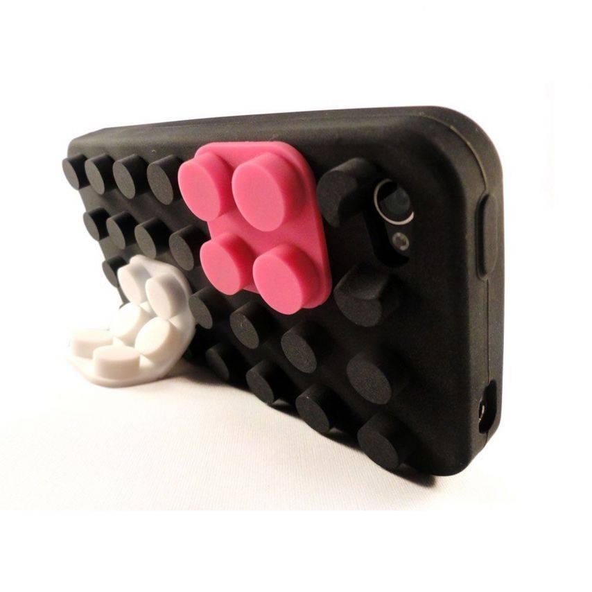 """Vue portée de Coque Blocs Design """"LEGO"""" Noire iPhone 4s / 4"""