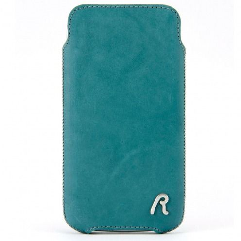 Etui Pouch iPhone 4/4S Replay® Aqua Medium Cuir Véritable Bleu