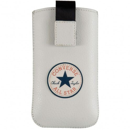 Etui Pouch iPhone 4/4S Converse All Star® Cuir Eco Blanc - Taille M