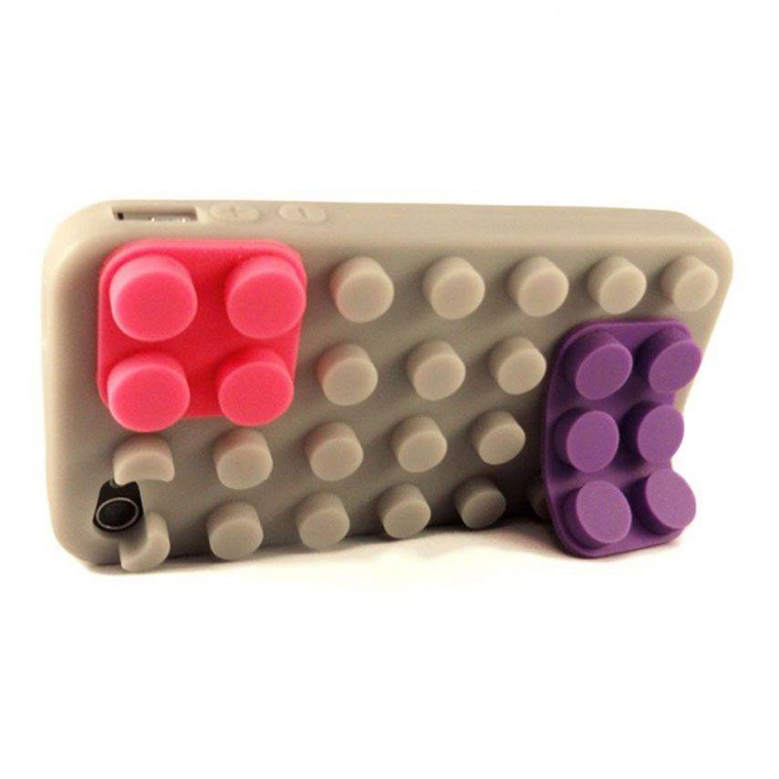 "Coque Blocs Design ""LEGO"" Grise iPhone 4s / 4"