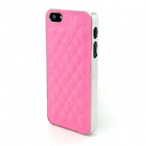 Coque iPhone 5S / 5 DELUXE Cuir & Chrome Rose