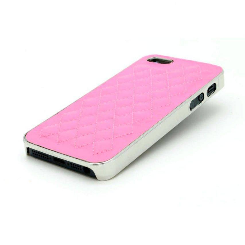 Vue complémentaire de Coque iPhone 5S / 5 DELUXE Cuir & Chrome Rose