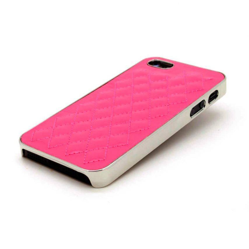 Vue complémentaire de Coque iPhone 5S / 5 DELUXE Cuir & Chrome Fushia