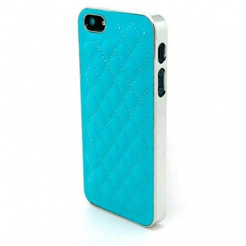 Coque iPhone 5S / 5 DELUXE Cuir & Chrome Bleue