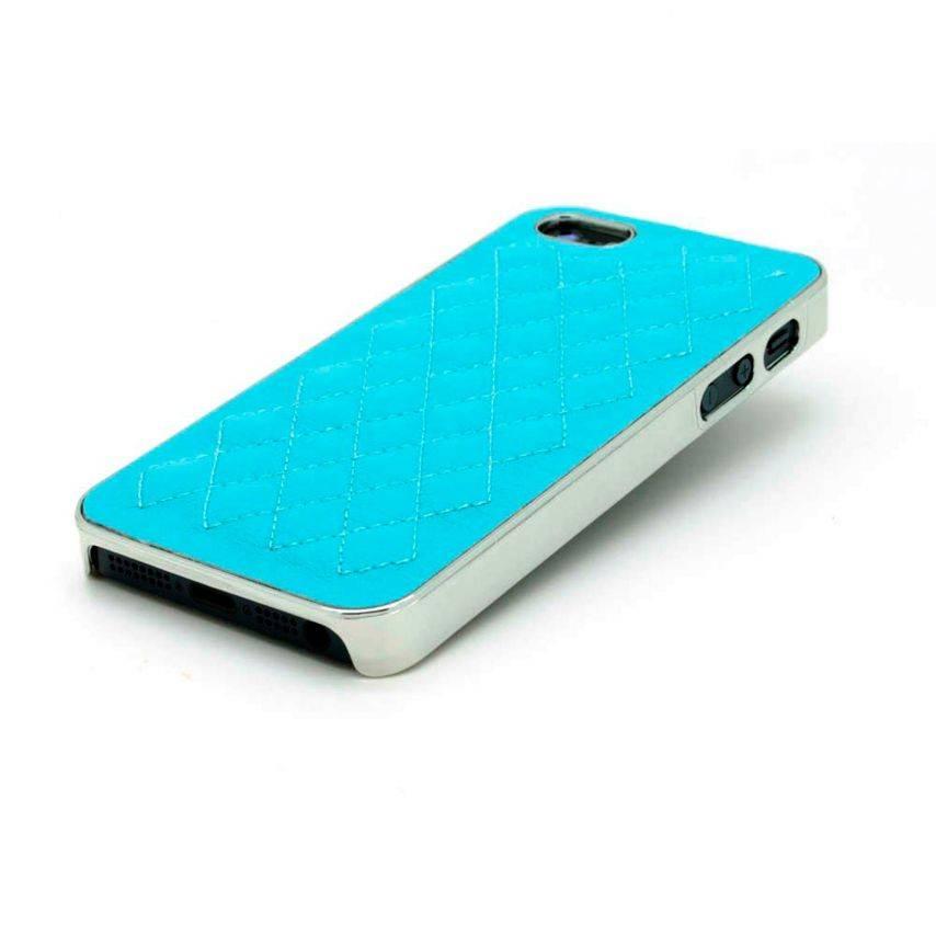 Vue complémentaire de Coque iPhone 5S / 5 DELUXE Cuir & Chrome Bleue