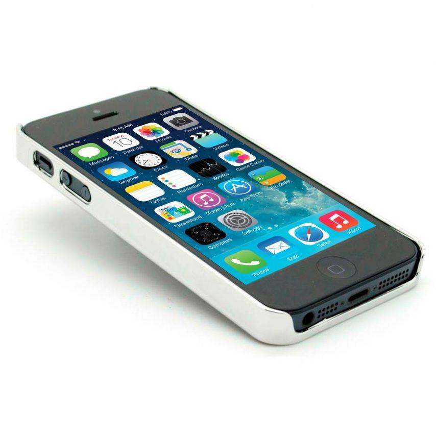 Photo réelle de Coque iPhone 5S / 5 DELUXE Cuir & Chrome Bleue
