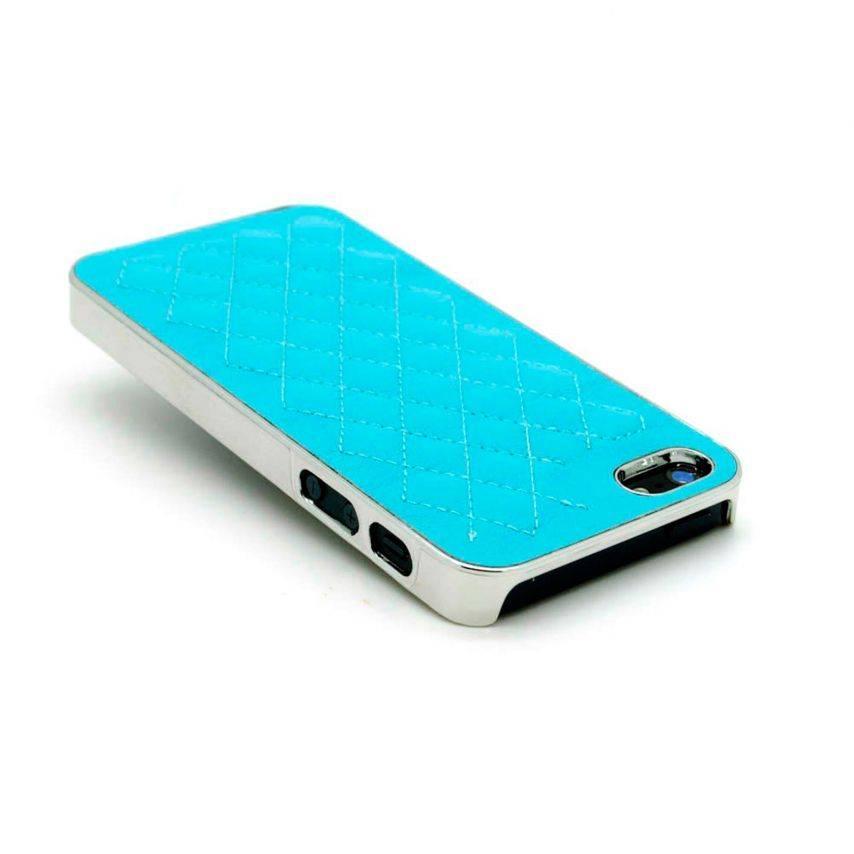 Vue portée de Coque iPhone 5S / 5 DELUXE Cuir & Chrome Bleue