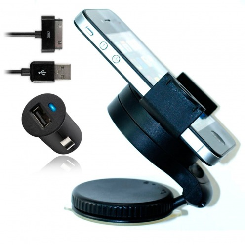 Mini Support voiture + Micro chargeur + Câble iPhone 3G/S/4/S