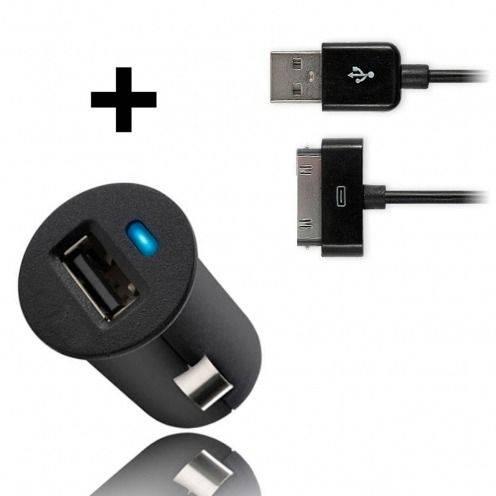 Micro chargeur voiture / Allume cigare USB avec Câble data Noir iPhone 3G/S/4/S