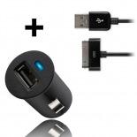 Vue complémentaire de Micro chargeur voiture / Allume cigare USB avec Câble data Noir iPhone 3G/S/4/S