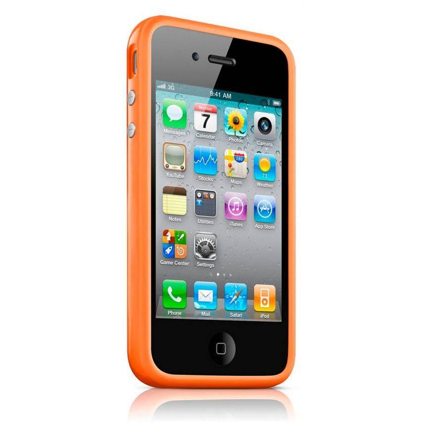 Vue complémentaire de Coque Bumper HQ Orange Pour iPhone 4S / 4