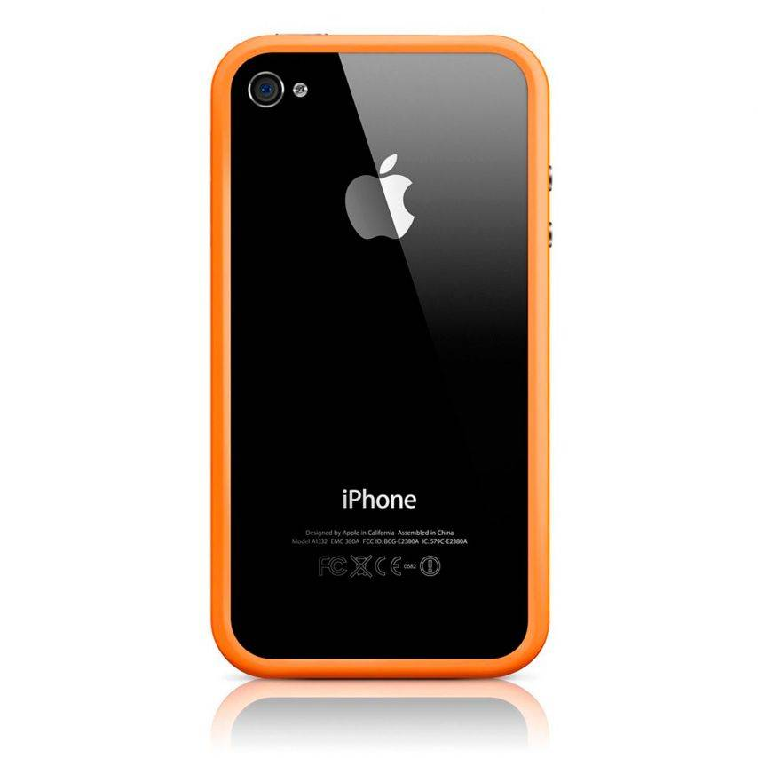 Photo réelle de Coque Bumper HQ Orange Pour iPhone 4S / 4