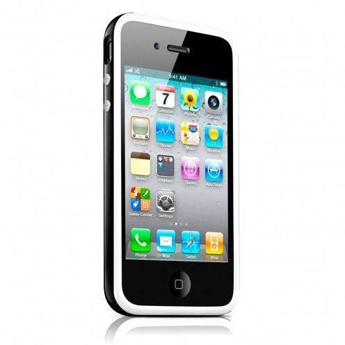 Vue complémentaire de Coque Bumper HQ Blanc / Noir Pour iPhone 4S / 4