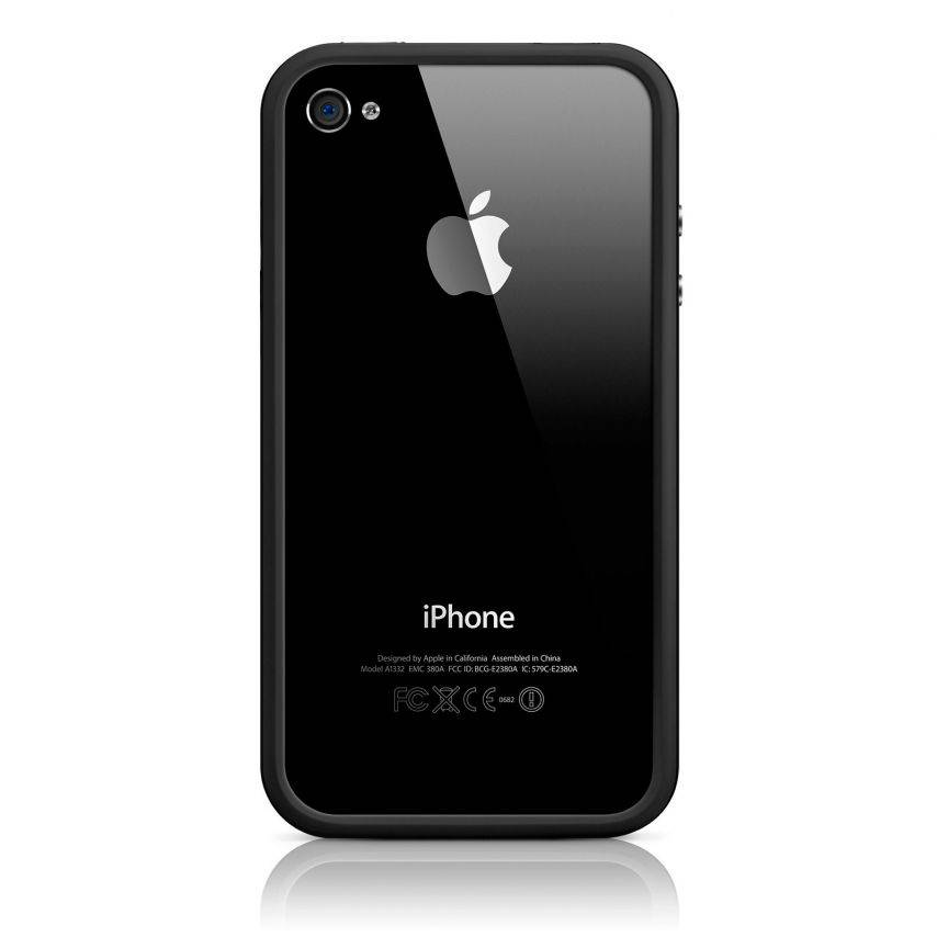 Photo réelle de Coque Bumper HQ Blanc / Noir Pour iPhone 4S / 4