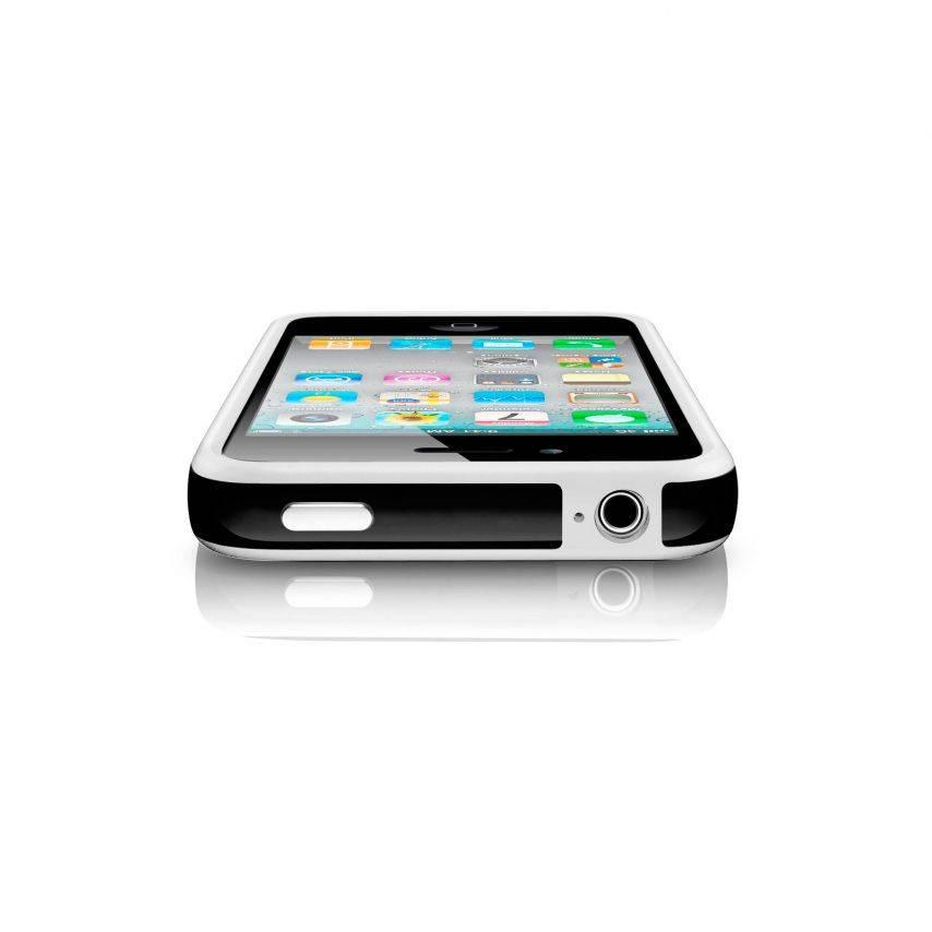 Vue portée de Coque Bumper HQ Blanc / Noir Pour iPhone 4S / 4