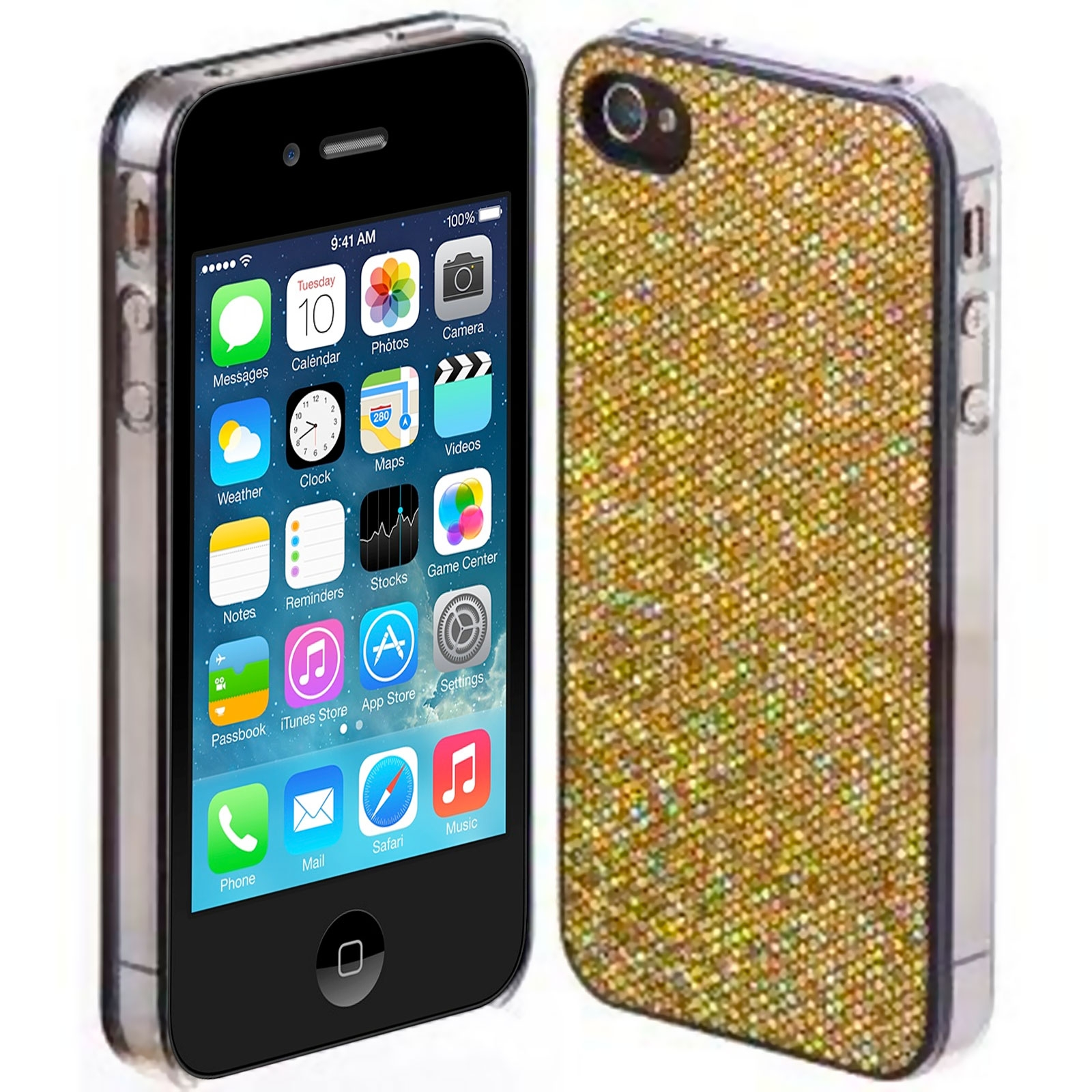 coque luxe strass paillettes or iphone 4s 4