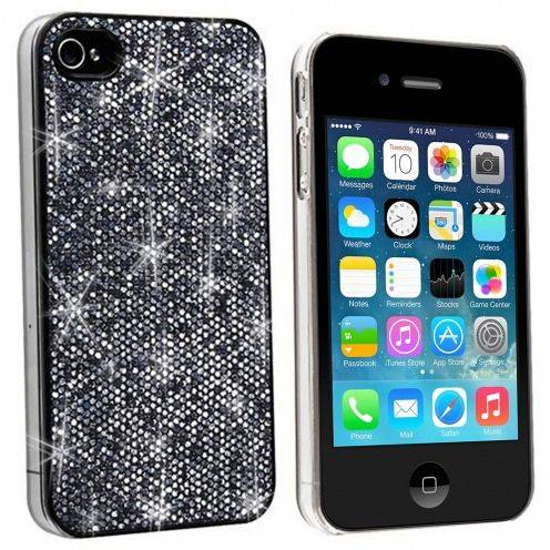 Coque Luxe Strass & Paillettes Noire iPhone 4S / 4