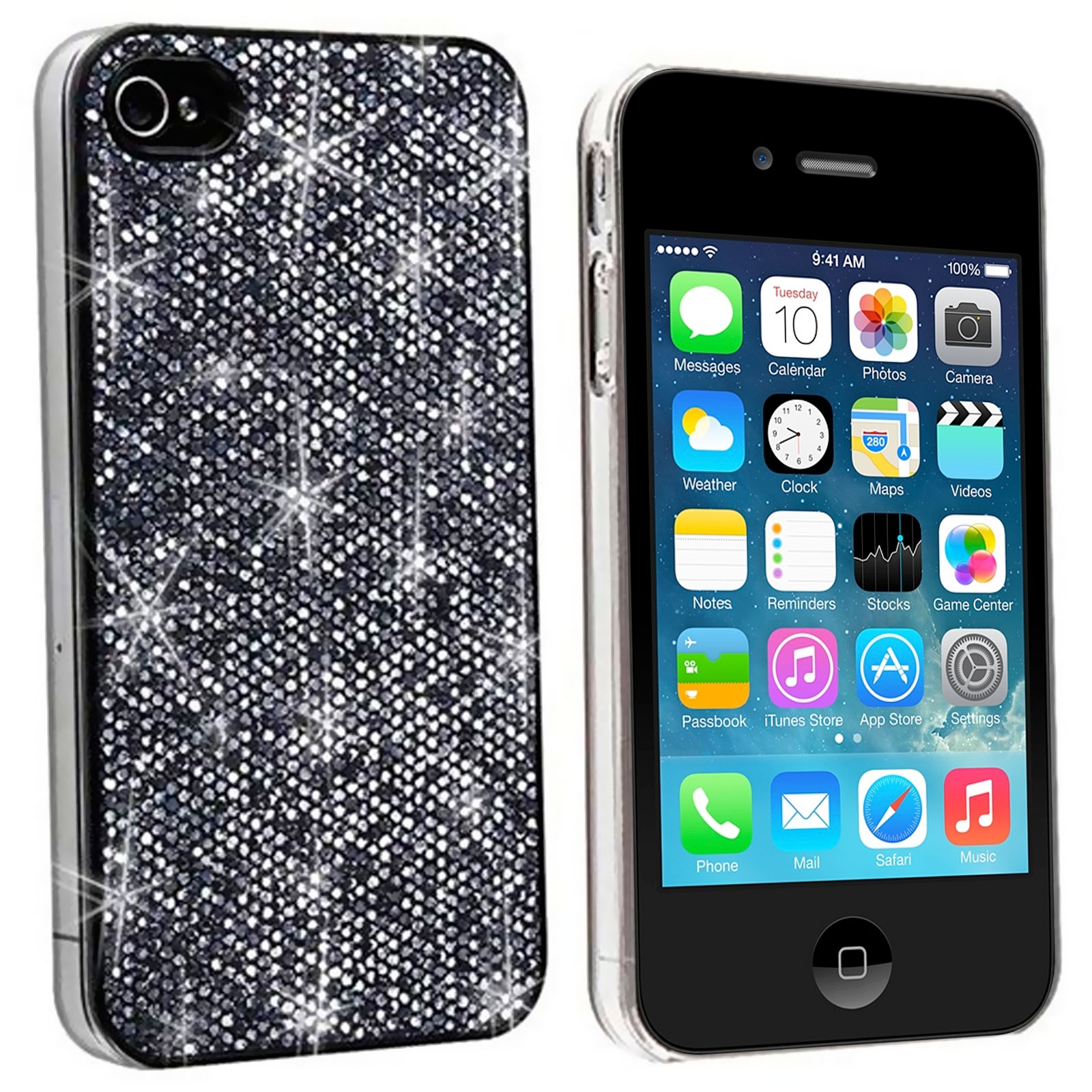 coque luxe strass paillettes noire iphone 4s 4. Black Bedroom Furniture Sets. Home Design Ideas