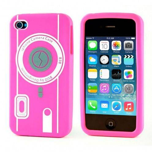 Housse Silicone Camera Rose pour iPhone 4S / 4