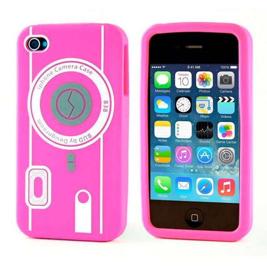 Vue complémentaire de Housse Silicone Camera Rose pour iPhone 4S / 4