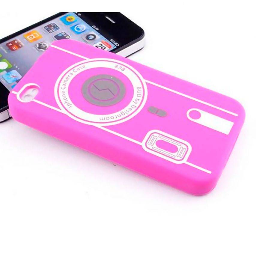 Photo réelle de Housse Silicone Camera Rose pour iPhone 4S / 4