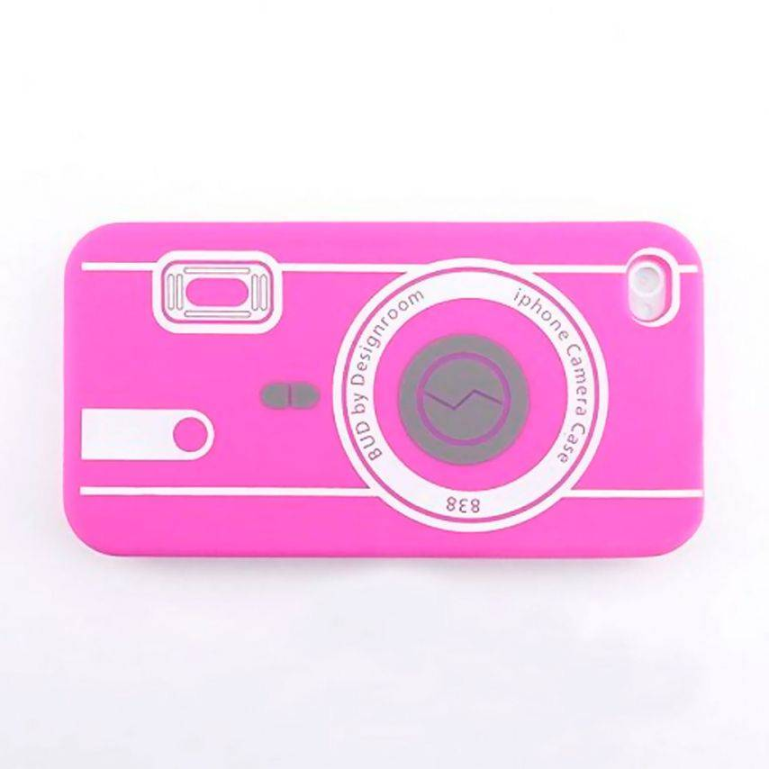 Vue portée de Housse Silicone Camera Rose pour iPhone 4S / 4