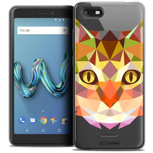 """Coque Crystal Gel Wiko Tommy 3 (5.45"""") Extra Fine Polygon Animals - Chat"""