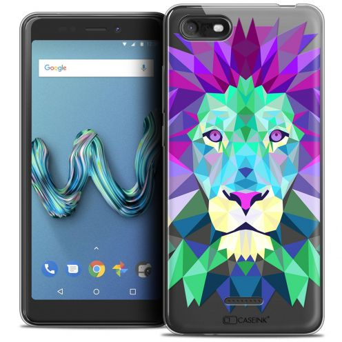 """Coque Crystal Gel Wiko Tommy 3 (5.45"""") Extra Fine Polygon Animals - Lion"""