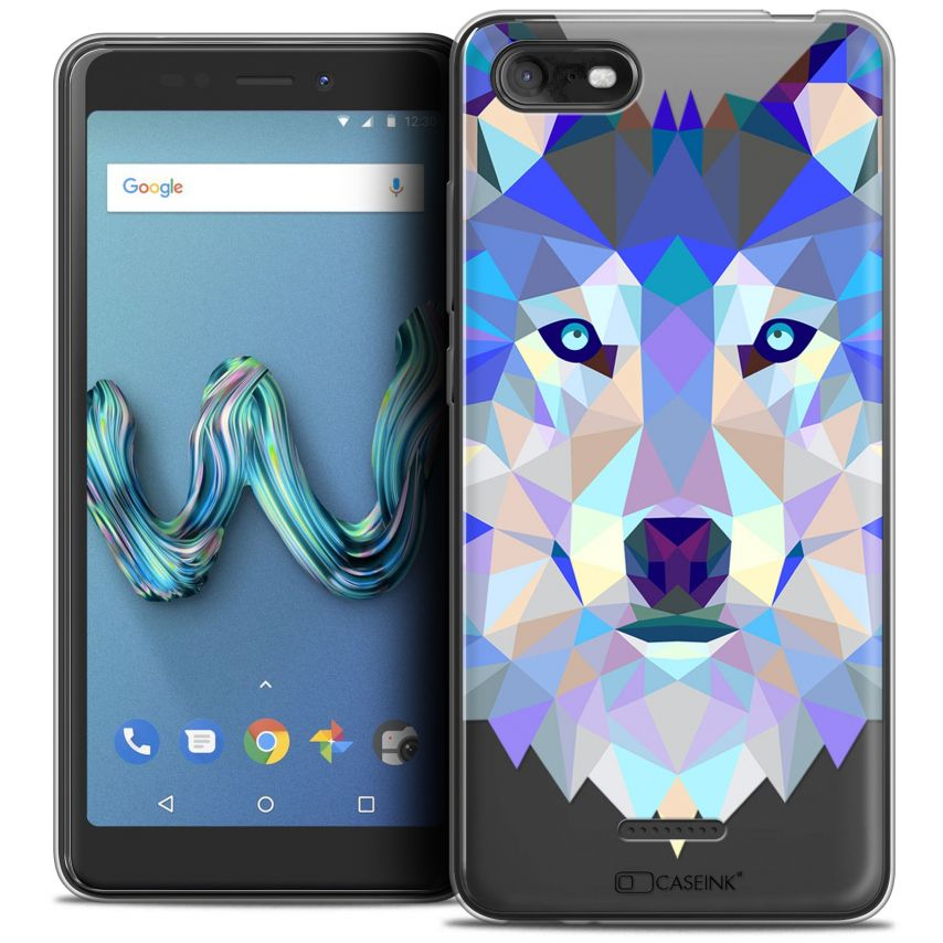 "Coque Crystal Gel Wiko Tommy 3 (5.45"") Extra Fine Polygon Animals - Loup"