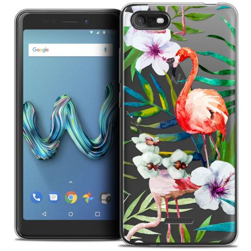 "Coque Crystal Gel Wiko Tommy 3 (5.45"") Extra Fine Watercolor - Tropical Flamingo"