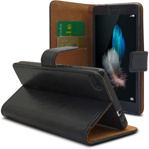 Etui Italia Folio Stand Huawei Ascend P8 Lite Cuir Véritable Bovin Noir