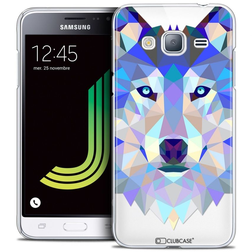 Coque Crystal Samsung Galaxy J3 2016 (J320) Extra Fine Polygon Animals - Loup