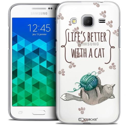 Coque Crystal Samsung Galaxy Core Prime (G360) Extra Fine Quote - Life's Better With a Cat