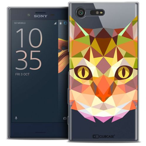 Coque Crystal Gel Sony Xperia X Compact/Mini Extra Fine Polygon Animals - Chat