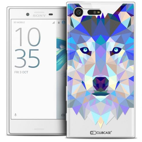 Coque Crystal Gel Sony Xperia X Compact/Mini Extra Fine Polygon Animals - Loup