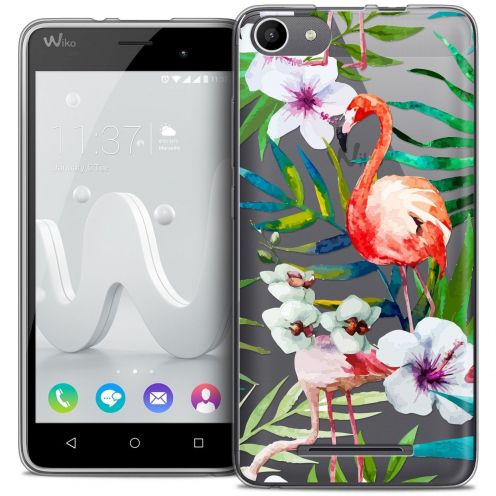 Coque Crystal Gel Wiko Jerry Extra Fine Watercolor - Tropical Flamingo