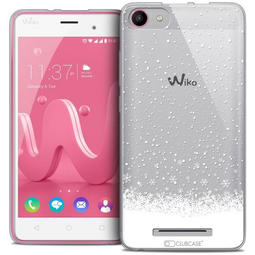 Coque Crystal Gel Wiko Jerry Extra Fine Noël 2016 - Flocons de Neige