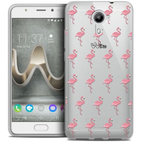 Coque Crystal Gel Wiko U Feel PRIME Extra Fine Pattern - Les flamants Roses