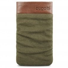 Etui Pouch Bugatti® Elements Twice Cuir Textile Vert Army - Taille M 73x125mm