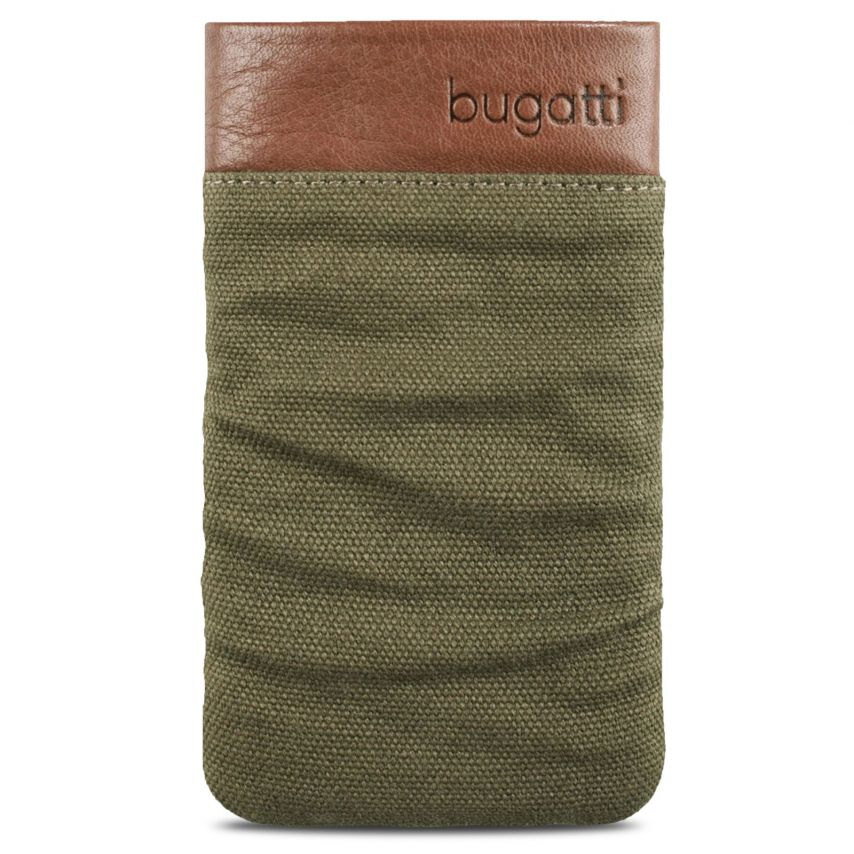 Zoom sur Etui Pouch Bugatti Elements Twice Cuir Textile Vert Army - Taille M 73x125mm