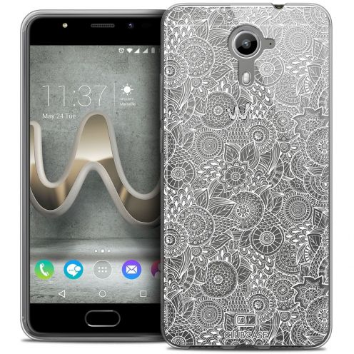 Coque Crystal Gel Wiko U Feel PRIME Extra Fine Dentelle Florale - Blanc