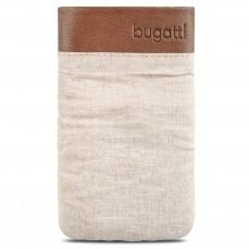 Zoom sur Etui Pouch Bugatti Elements Twice Cuir Textile Beige Safari - Taille M 73x125mm