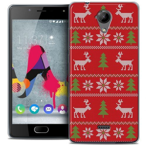 Coque Crystal Gel Wiko U Feel LITE Extra Fine Noël 2016 - Couture Rouge