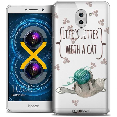 Coque Crystal Gel Huawei Honor 6X Extra Fine Quote - Life's Better With a Cat