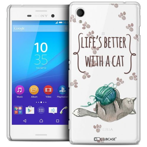 Coque Crystal Sony Xperia M4 Aqua Extra Fine Quote - Life's Better With a Cat